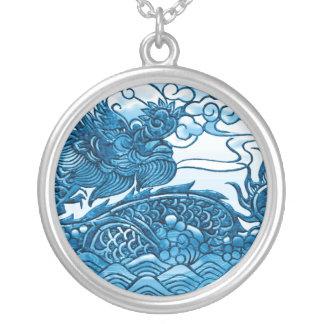 Turquoise Blue Dragon Medallion Pendants
