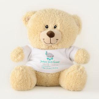 Turquoise Blue Elephant Birth Keepsake Design Teddy Bear