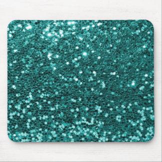 Turquoise Blue Faux Glitter Teal Aqua Mouse Mat
