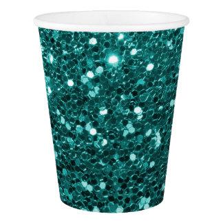 Turquoise Blue Faux Glitter Teal Aqua Paper Cup