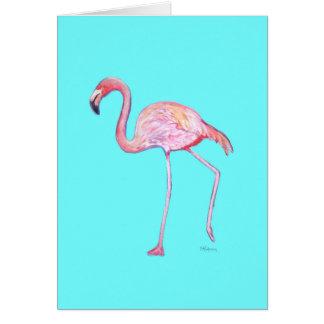 Turquoise Blue Flamingo Notecard
