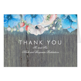 Turquoise Blue Floral Rustic Wedding Thank You Card