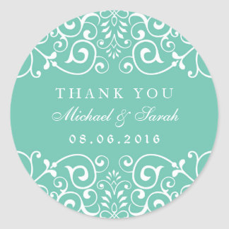 Turquoise Blue Floral Swirl Thank You Sticker