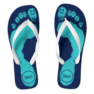 Turquoise Blue Footprints Smiley-Toes™ Navy Blue Flip Flops