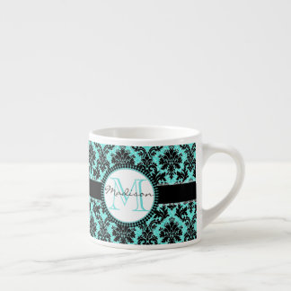 Turquoise blue glitter & black damask, Name Espresso Cup