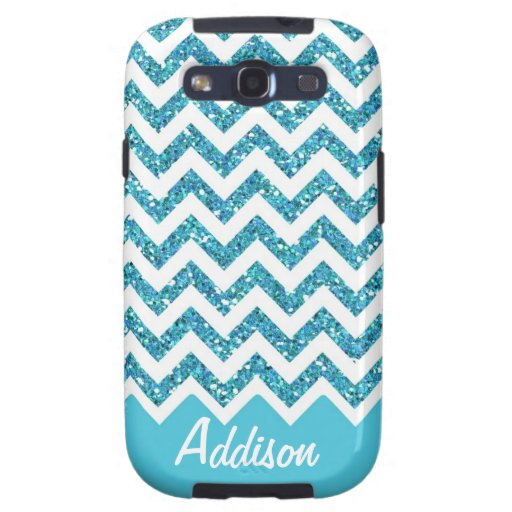 Turquoise Blue Glitter Chevron Name BLING Case Samsung Galaxy SIII Cases