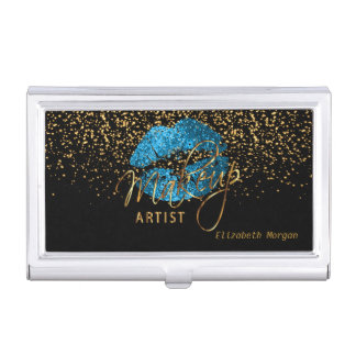 Turquoise Blue Glitter Lips and Gold Confetti Business Card Holder