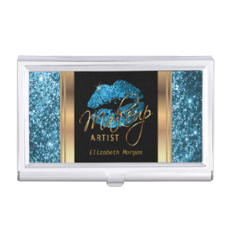 Turquoise Blue Glitter Lips on Gold & Black Business Card Holder
