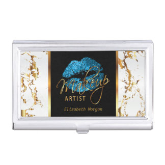 Turquoise Blue Glitter Lips on Gold & White Marble Business Card Holder