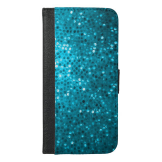 Turquoise Blue Glitter & Sparkles Print iPhone 6/6s Plus Wallet Case