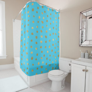 Turquoise Blue Gold Dots Shower Curtain