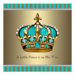 Turquoise Blue Gold Prince Baby Shower Invitation