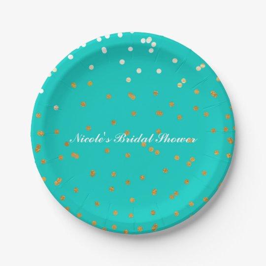 Turquoise Blue & Gold Shiny Confetti Dots Modern