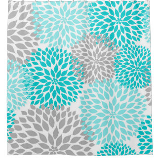 Turquoise Blue Gray Floral Dahlias blossoms Shower Curtain
