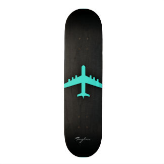 Turquoise; Blue Green Airplane Custom Skateboard