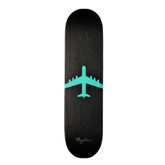 Turquoise; Blue Green Airplane Skateboard Deck