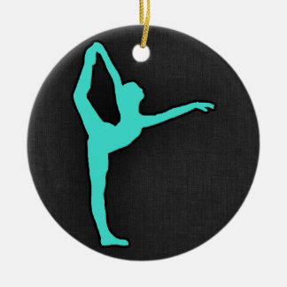 Turquoise; Blue Green Ballet Dancer Double-Sided Ceramic Round Christmas Ornament