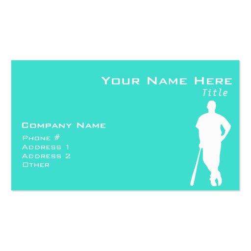 Turquoise; Blue Green Baseball, Softball Business Card Template