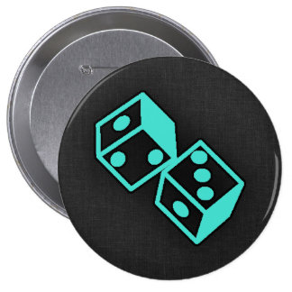 Turquoise, Blue-Green Casino Dice 10 Cm Round Badge