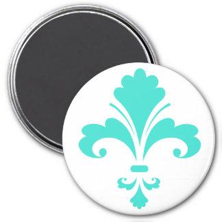 Turquoise, Blue-Green Fleur-de-lis 7.5 Cm Round Magnet
