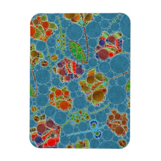Turquoise Blue Green Floral Abstract Rectangular Photo Magnet
