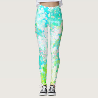 Turquoise Blue Green Flowers Legging