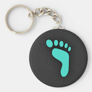 Turquoise, Blue-Green Footprint Basic Round Button Key Ring