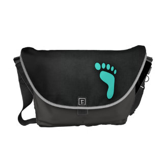 Turquoise, Blue-Green Footprint Courier Bags