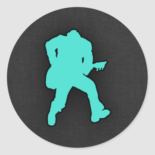 Turquoise; Blue Green Guitar Player Sticker