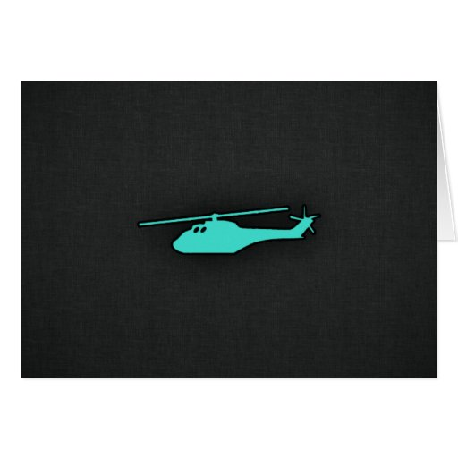 Turquoise; Blue Green Helicopter Greeting Cards