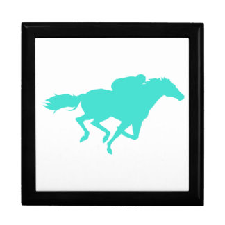 Turquoise; Blue Green Horse Racing Large Square Gift Box