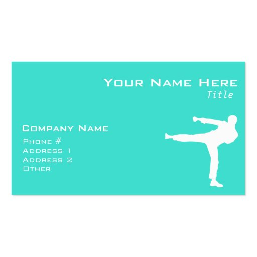 Turquoise; Blue Green Martial Arts Business Card