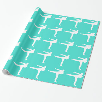 Turquoise; Blue Green Martial Arts Wrapping Paper