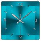 Turquoise Blue Green Metallic Clock
