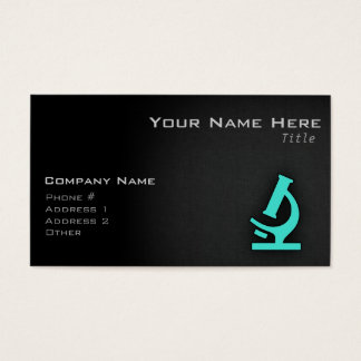 Turquoise; Blue Green Microscope Business Card