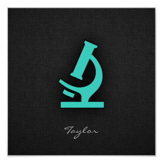 Turquoise; Blue Green Microscope Poster