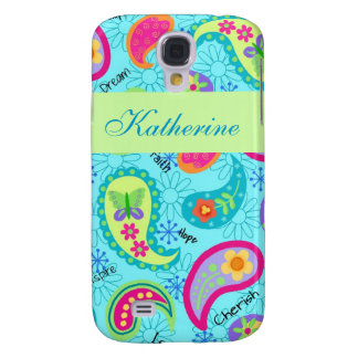 Turquoise Blue Green Modern Paisley Pattern Name Galaxy S4 Case