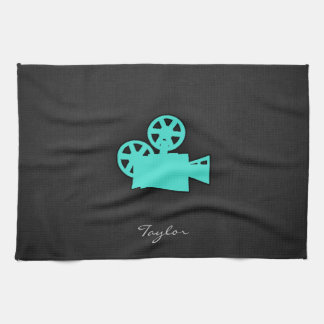 Turquoise; Blue Green Movie Camera Tea Towel
