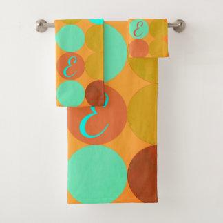 Turquoise Blue Green & Orange Circles Monogram Bath Towel Set