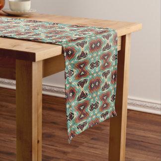 Turquoise Blue Green Orange Tribal Mosaic Pattern Medium Table Runner