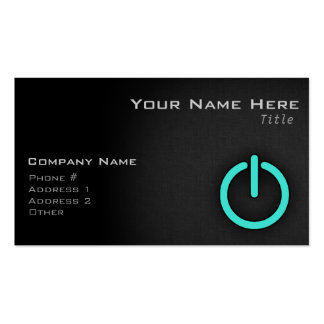 Turquoise, Blue-Green Power Button Business Cards