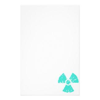 Turquoise Blue-Green Radioactive Symbol Stationery Design