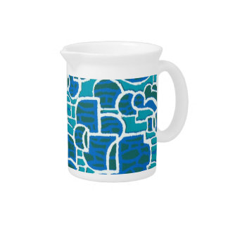 Turquoise, Blue, Green, White Pitcher or Jug