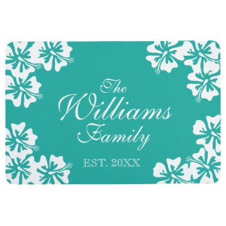 Turquoise blue Hibiscus flower floral floor mat