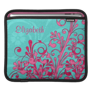 Turquoise Blue Hot Pink Floral Personalized iPad Sleeve