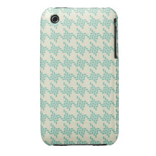 Turquoise blue houndstooth tweed zigzag pattern iPhone 3 cover