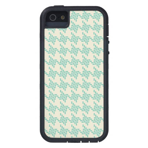 Turquoise blue houndstooth tweed zigzag pattern iPhone 5 cover