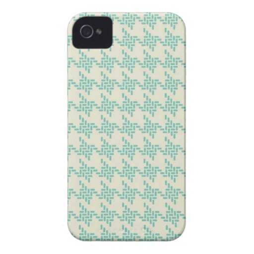 Turquoise blue houndstooth tweed zigzag pattern iPhone 4 Case-Mate case