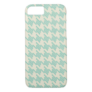 Turquoise blue houndstooth tweed zigzag pattern iPhone 7 case