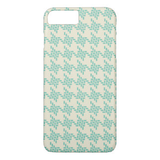 Turquoise blue houndstooth tweed zigzag pattern iPhone 7 plus case